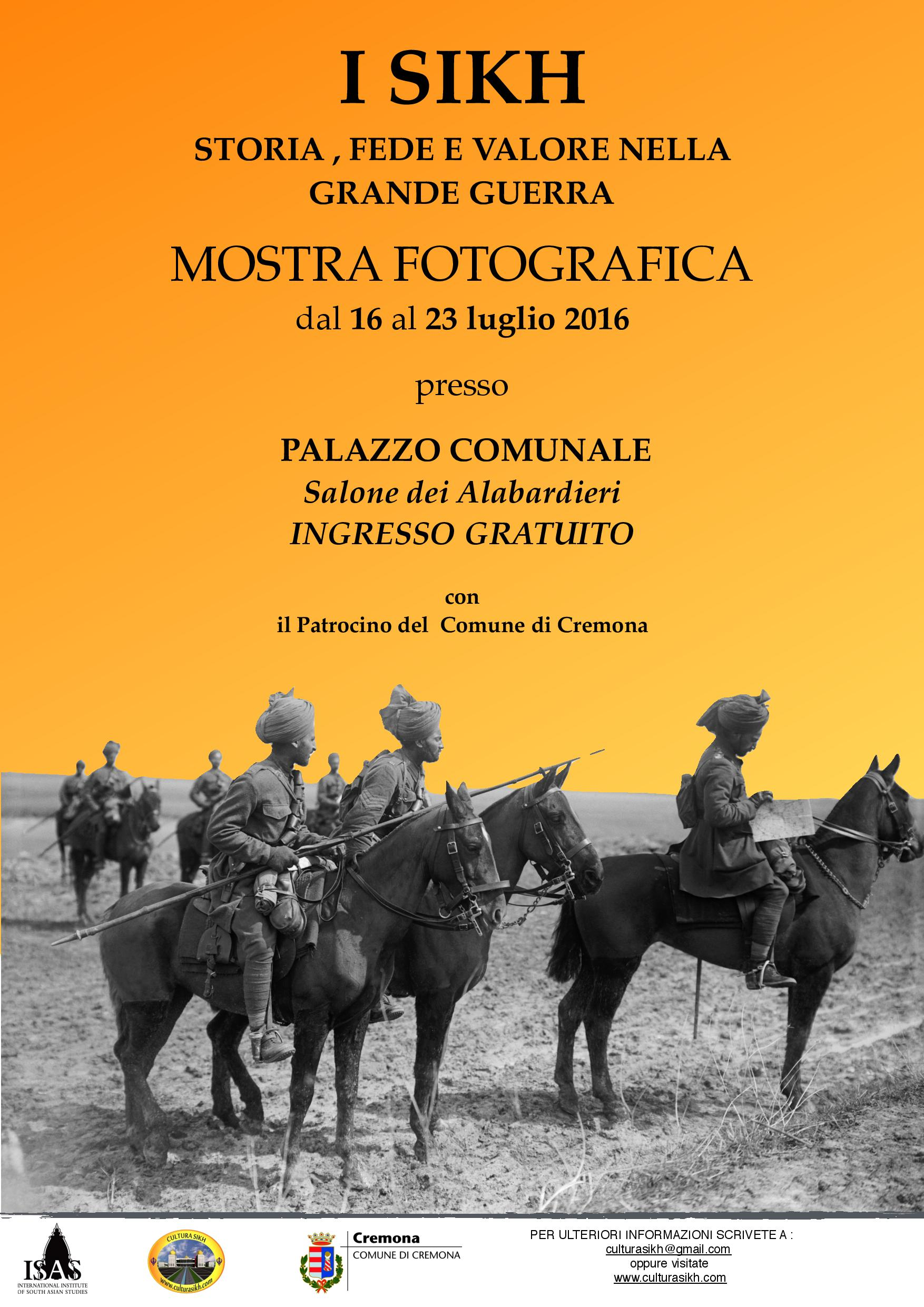 """A Cremona la Mostra fotografica """"I SIKH: STORIA FEDE E VALORE NELLA GRANDE GUERRA"""""""